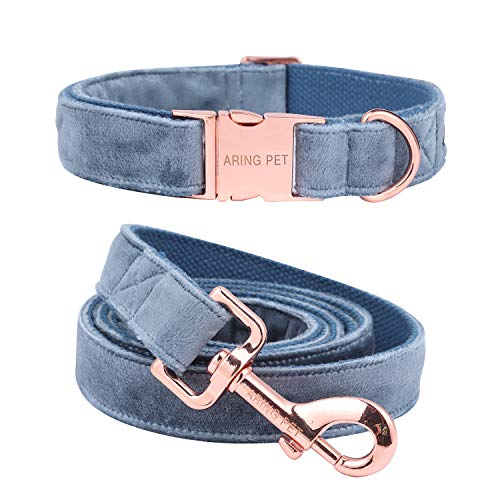 ARING PET Dog Collar and Leash, Velvet Dog Collar and Leash Set, Soft & Comfy, Adjustable Collars for ()