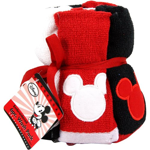 Mickey Mouse Decorative Bath Collection - 6 pack Washcloth (Mickey And Minnie Bathroom Set)
