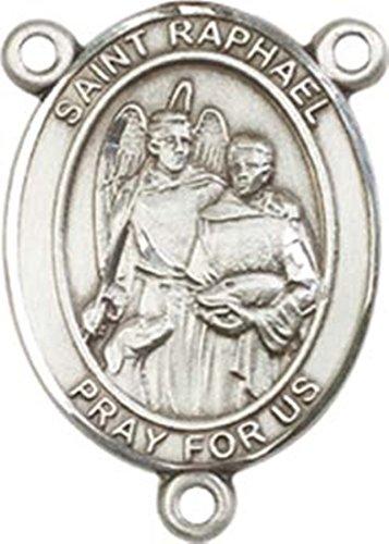 Sterling Silver Saint Raphael the Archangel Rosary Centerpiece Medal, 3/4 Inch (Medal Raphael Pendant)