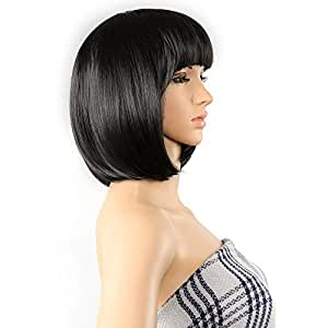 "AGPtEK 13"" Straight Heat Resistant Short Bob Hair Wigs with Flat Bangs for Women Cosplay Daily Party - Black"