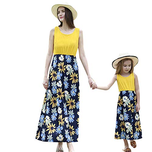 EnjoCho Summer Mommy and Me Family Matching Mother Daughter Dresses Clothes Floral Mom Dress Kids Child Outfits Mum Sister Baby Girl (Size:L, -