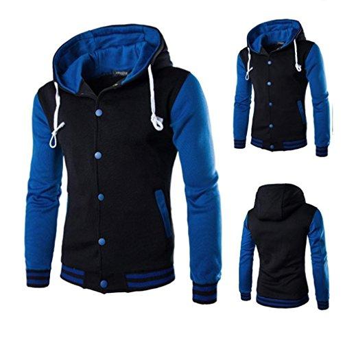 KEBINAI New Men's Slim Warm Hooded Sweatshirt Jacket Button Baseball Coat Fashion BlueXX-Large
