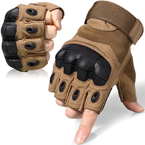WTACTFUL Tactical Gloves Military Fingerless Hard Rubber Knuckle Half Finger for Army Gear Sports Driving Shooting Paintball Riding Motorcycle Hunting Gloves Size X-Large Brown ()