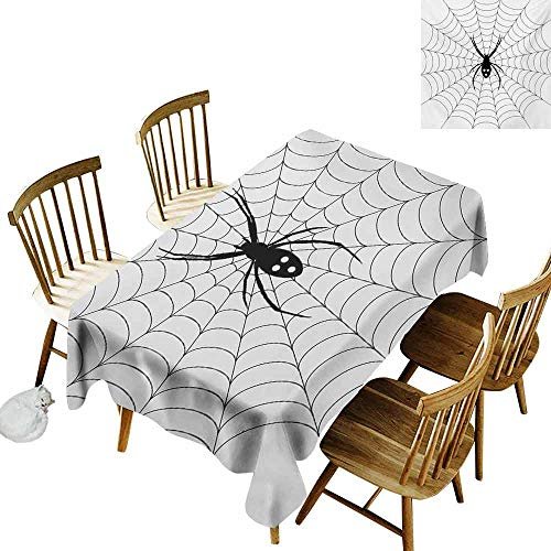 Mannwarehouse Spider Web Rectangular Tablecloth Poisonous Bug Venom Thread Circular Cobweb Arachnid Cartoon Halloween Icon Washable Tablecloth W70 x L90 Black White -