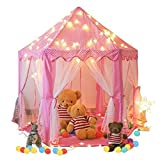 Springbuds Kids Pink Princess Castle Play Tent, Large Children Playhouse for Girls, with LED Star Lights, Perfect Indoor&Outdoor Child Toys, 55'(Diameter) x 53'(Height)