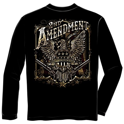 Patriotic Long Sleeve T-Shirts, 100% Cotton Casual Mens Shirts, Show Your Pride With Our 2nd Amendment Eagle Silver Foil Long Sleeve Shirts for Men or Women (Large) ()