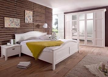 Schlafzimmer Komplett Rome Landhausstil Pinie Weiss Holz Weiß Glas