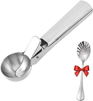 MoYouno Paletta per gelato in acciaio inossidabile massiccio con grilletto antiaderente anguria a sgancio rapido cucchiaio per mestolo per frutta