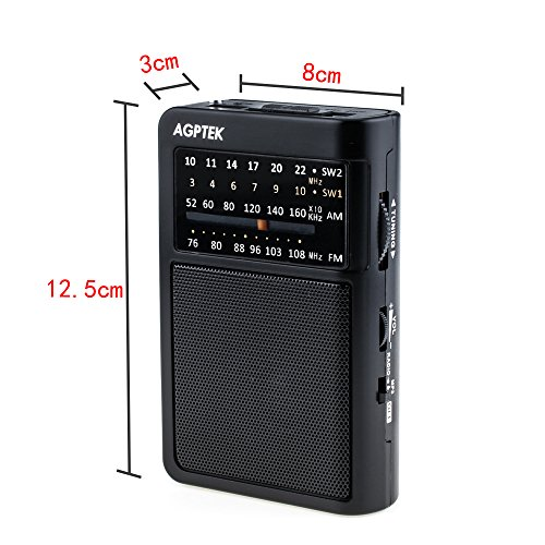 AGPtEK R09 Pocket Radio, AM/FM/SW World Band Receiver with M