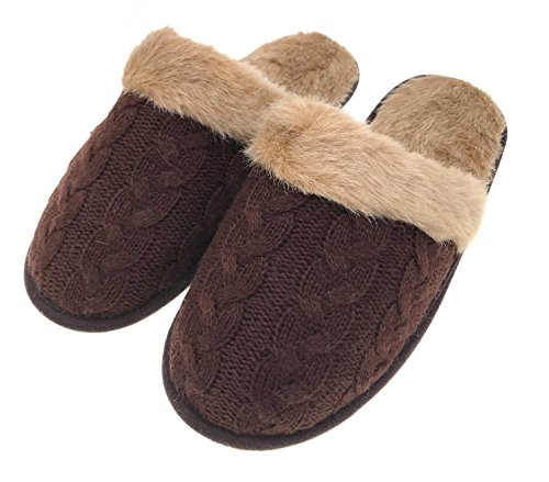 MOGGEI Mens Fuzzy House Slippers Christmas Cotton Winter Warm Indoor Home Slippers Brown