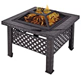 NEW 26'' Outdoor Metal Firepit Backyard Patio Garden Square Stove Fire Pit With Poker