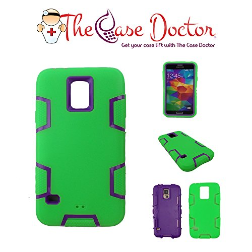 TCD Samsung Galaxy S5 9600 Hybrid Case [Green& Purple] Turtle Hybrid Defender Series Multi Layer [Hard/Soft Combo] High Impact Shock Absorbent Case Cover