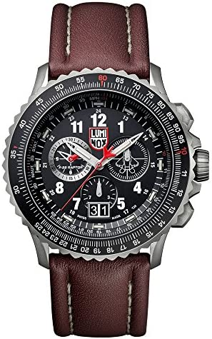 Luminox 9247 Men s Air F-22 Raptor 9240 Black Dial Brown Leather Strap Chrono Dive Watch