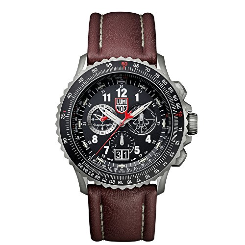 Luminox 9247 Men's Air F-22 Raptor 9240 Black Dial Brown Leather Strap Chrono Dive Watch
