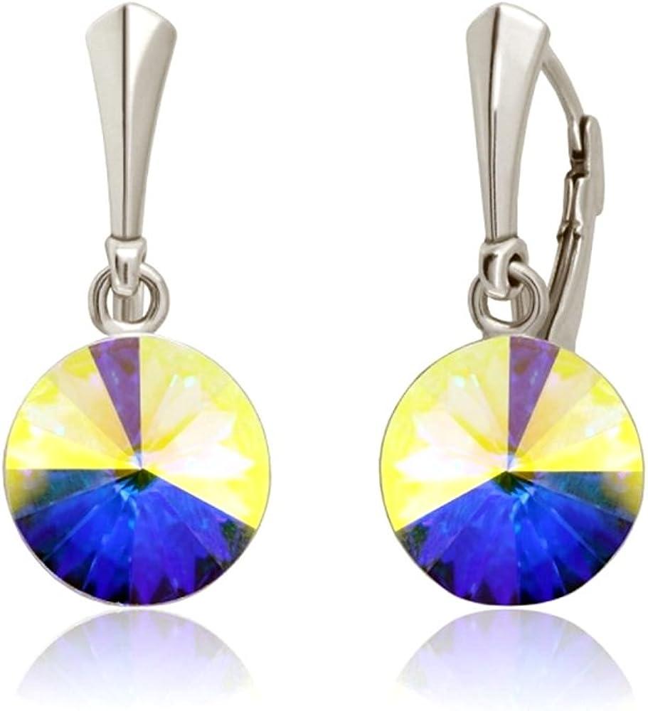 Crystals & Stones * Crystal AB* Plata 925 12 mm * Rivoli * – Bonitos pendientes para mujer con cristales de Swarovski Elements – Fantásticos pendientes con caja de regalo