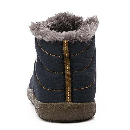 Outdoor JACKSHIBO con Donne Blu Uomini Stivali Caviglia Inverno Neve Boot Pelo a Caldo Morbido 5rrIwYq