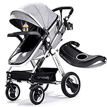 Belecoo Baby Stroller for Newborn and Toddler – Convertible Bassinet Stroller Compact Single Baby Carriage Toddler Seat Stroller Luxury Stroller with Cup Holder Linen Grey