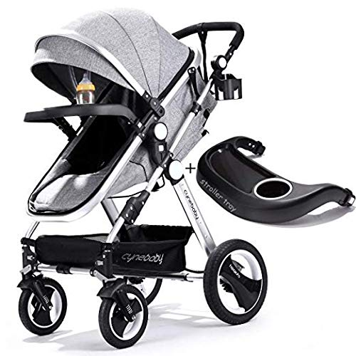 Belecoo Baby Stroller for Newborn and Toddler – Convertible Bassinet Stroller Compact Single Baby Carriage Toddler Seat Stroller Luxury Stroller with Cup Holder (Linen Grey)