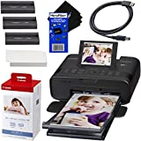 Canon SELPHY CP1300 Wireless Compact Photo Printer (Black) + Canon KP-108IN Color Ink Paper Set (Produces up to 108 of 4 x 6'' prints) + USB Printer Cable + HeroFiber Ultra Gentle Cleaning Cloth