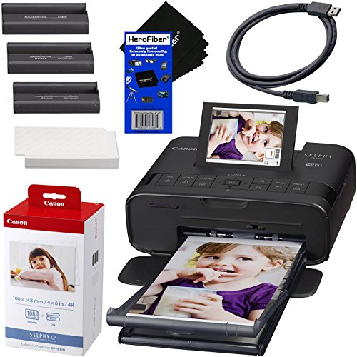 - Canon SELPHY CP1300 Wireless Compact Photo Printer (Black) + Canon KP-108IN Color Ink Paper Set (Produces up to 108 of 4 x 6 Prints) + USB Printer Cable + HeroFiber Ultra Gentle Cleaning Cloth