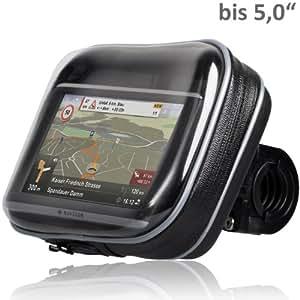 """Wicked Chili Biker Bag - Funda impermeable para navegadores GPS con pantalla de 5.0"""" (con fijación para bicicletas o motos, orificio para cable, se puede inclinar y girar)"""