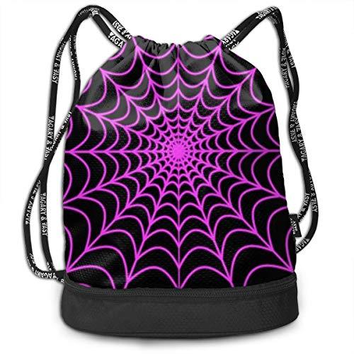 Women Men Lightweight Drawstring Backpack Bags Halloween Spider Web Athletic Sports Gym Yoga Sack Cinch Bags