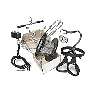 "200' Rogue Classic Zip Line Kit 5/16"" Galvanized Aircraft Cable with 350 lb. Weight Limit, Premium Materials, Durable Steel Trolley"