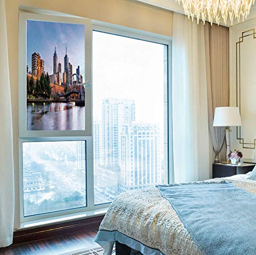 C COABALLA Frosted Window Film,City,for Shop Restaurant Home,Early Morning Scenery in Melbourne Australia Famous Yarra,24''x48''