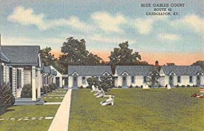 Carrollton Kentucky Blue Gabels court Linen Antique Postcard K19891
