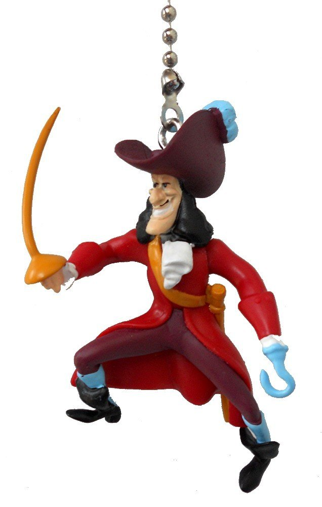 Disney Classic Disney Movie Villains Assorted Character Ceiling Fan Pull Light Chain, Captain Hook from Peter Pan