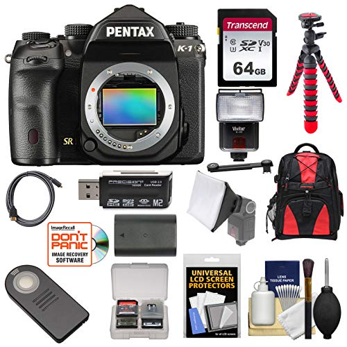 Pentax K-1 Mark II Full Frame Wi-Fi Digital SLR Camera Body with 64GB Card + Battery + Flash + Backpack + Tripod + -