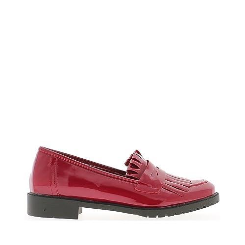 Barniz de Mocasines Mujer Rojo con Flecos - 36: Amazon.es: Zapatos y complementos