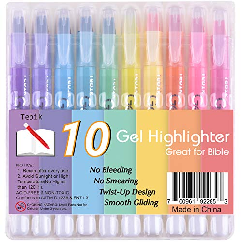 (Tebik 10 Colors Bible Safe Dry Gel Highlighters Markers Study Kit, Twist-Retractable Design, Great For Journaling, Highlighting and Bible Study)