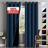 Flamingo P 100% Blackout Curtains for Bedroom Double Layer Curtains Thermal Insulated Blackout Curtains in Pairs Light Blocking Curtains for Living Room, Thick Lined Panels, Navy Blue, 52' W x 96' L