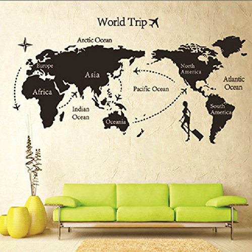 World map wall art amazon map of world trip vinyl mural art wall sticker decals decor for living room world gumiabroncs Images