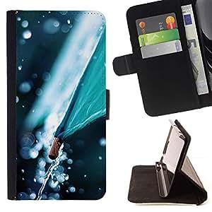 For HTC One A9 Case , Paraguas Naturaleza Otoño Tiempo- la tarjeta de Crédito Slots PU Funda de cuero Monedero caso cubierta de piel