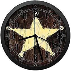 Southwestern Primitive Rustic Wooden Lone Star Five Point Antiqued LookGood Gift or Office Home Unique Decoration Wall Clock 12in