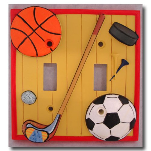 Play Ball Border - Borders Unlimited Lets Play Ball Double Switc Plate Cover