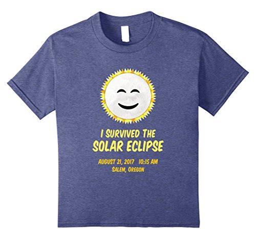 Kids Salem Oregon I Survived Total Solar Eclipse Shirt Kids Adult 12 Heather - Oregon Salem Glasses