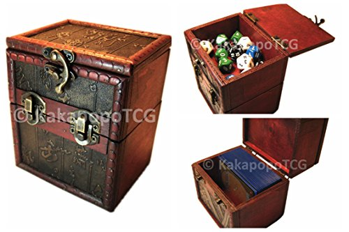 M01D Wood Single Deck and Counter Box for Deck Protector Storage Trading Cards TCG Ultra Pro Sleeve MTG Magic the Gathering Pokemon YGO Yugioh EDH Tabletop Gaming Dice