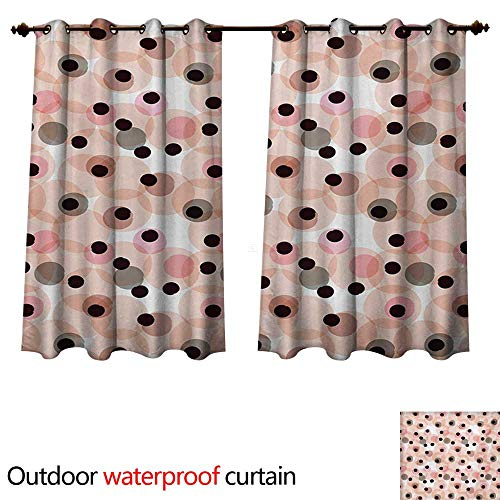 Outdoor Curtains for Patio Sheer Simplistic Geometric Pattern with Big and Small Blots and Artful Paintbursh Effect W72 x L63(183cm x 160cm) ()
