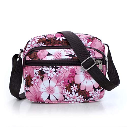Veriya Handbag Multi Flower Crossbody Bag Water Lightweight body Ladies For Nylon Shoulder Bags Zip Women Pink Messenger Resistant Cross Pockets 10xWqE1n