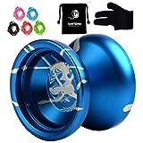 MAGIC YOYO N12, Shark Honor Finger Spin Yoyo Blue splash Silver Super Professional YoYo +5 Strings + Free Bag +Free Glove