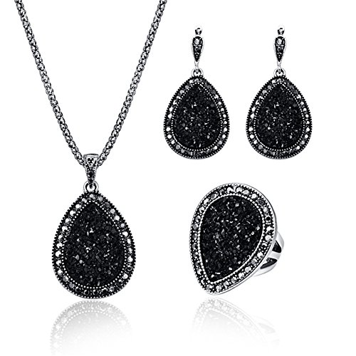 Wedding Jewerly Set Black Diamond Women Necklace Earring Sets Fashion Pear Gemstone Pendant Costume Jewelry - Ring#7