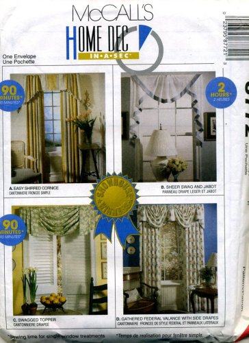 McCall's Home Dec in a Sec Swag, Valance and Curtain Sewing Pattern 8772