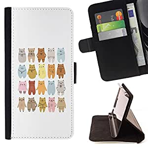 For Apple Iphone 4 / 4S Bear Art Drawing Lineup Cartoon Beautiful Print Wallet Leather Case Cover With Credit Card Slots And Stand Function