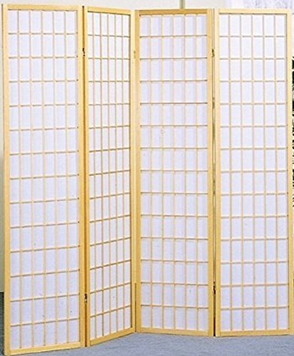 (Legacy Decor 4 Panel Natural Room Divider Shoji Screen)