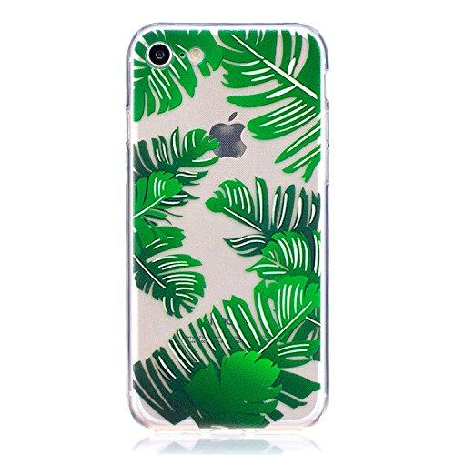 iPhone 7 Hülle , Leiai Modisch Blatt TPU Transparent Weich Tasche Schutzhülle Silikon Handyhülle Stoßdämpfende Schale Fall Case Shell für Apple iPhone 7