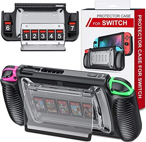 Switch Case for Nintendo Switch, Protective Case with 7 Game Cards Storage Slots for Switch, Switch Cover with Ergonomic Design and Adjustable Kickstand, Switch Protector Provide 360° Full Protection