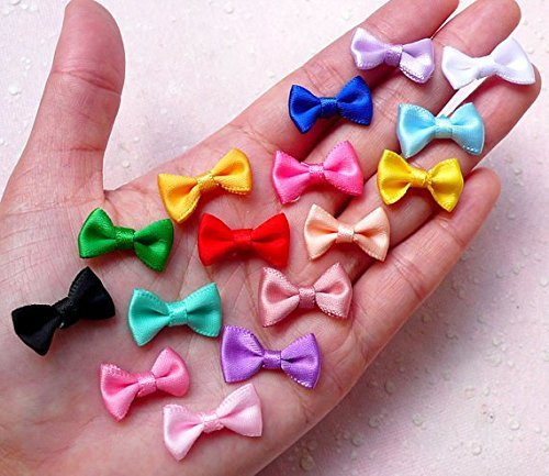 QianCraftKits QIAN 250pcs Mini Fabric Ribbon Bow Tie/Tiny Satin Bows 20mmx12mm/Mix Hair Accessory Jewellery Making Wedding Favor -